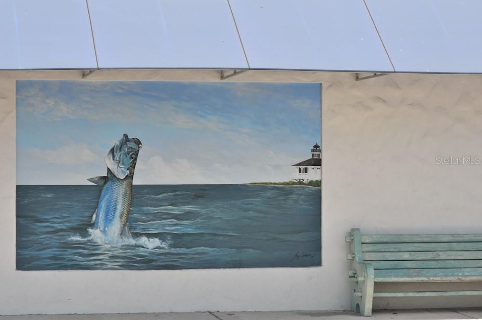 Mural on post office wall, downtown Boca Grande - Single Family Home for sale at 5820 Gasparilla Rd #slip 22, Boca Grande, FL 33921 - MLS Number is D6107786