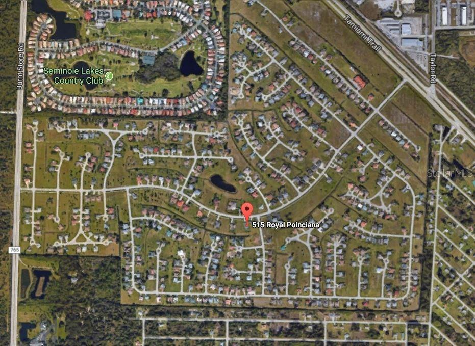 Royal Poinciana runs from US-41/Tamiami Trail through to Burnt Store Road in the Burnt Store Meadows deed-restricted community - Single Family Home for sale at 515 Royal Poinciana Cir, Punta Gorda, FL 33955 - MLS Number is C7244338