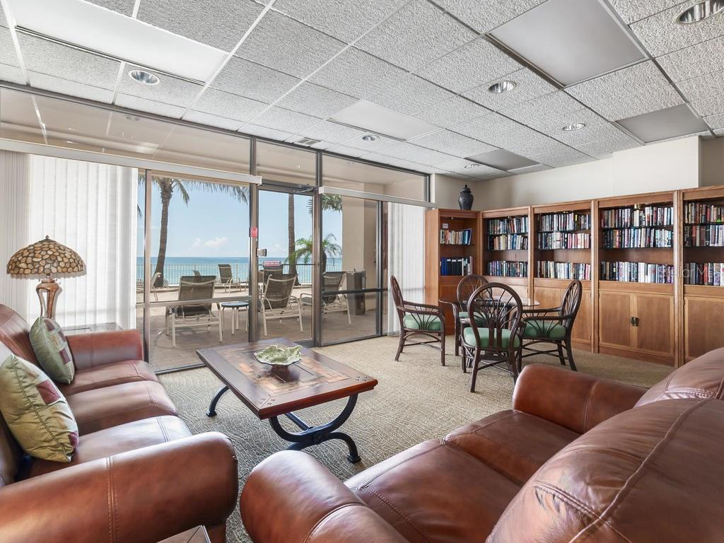 Building Library overlooking pool & Gulf - Condo for sale at 1750 Benjamin Franklin Dr #5g, Sarasota, FL 34236 - MLS Number is A4192160