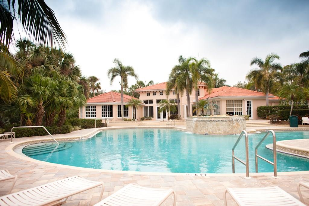 Community pool with fitness center, workout class room, clubhouse and tennis/pickleball courts. - Single Family Home for sale at 519 Sawgrass Bridge Rd, Venice, FL 34292 - MLS Number is A4201353