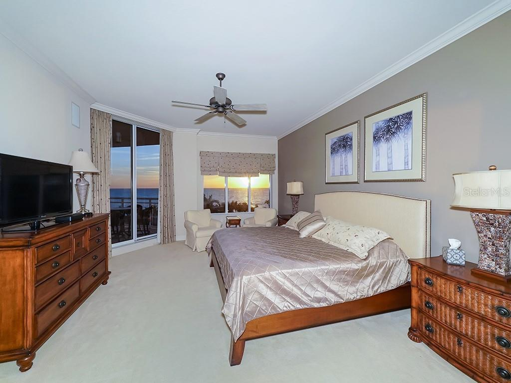 Master Bedroom - Romantic Sunsets Year Round - Condo for sale at 1300 Benjamin Franklin Dr #603, Sarasota, FL 34236 - MLS Number is A4213631