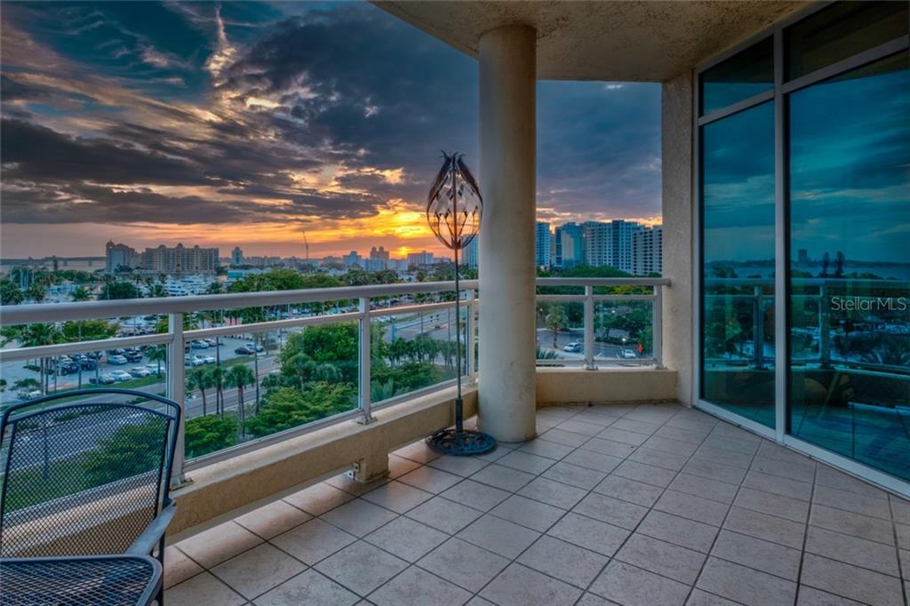 Front balcony Sunsets - Condo for sale at 340 S Palm Ave #412, Sarasota, FL 34236 - MLS Number is A4403968