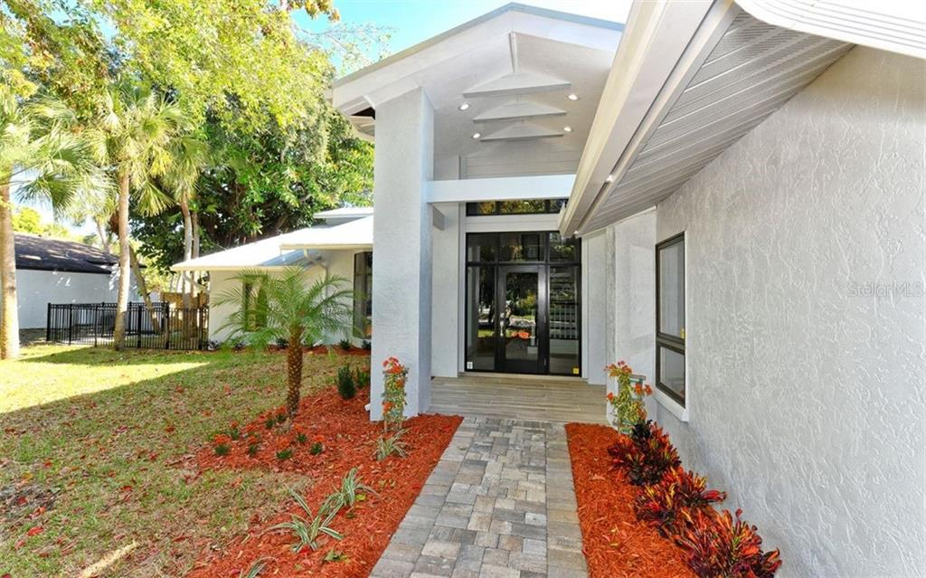Front entry with new pavers - Single Family Home for sale at 4619 Higel Ave, Sarasota, FL 34242 - MLS Number is A4415833