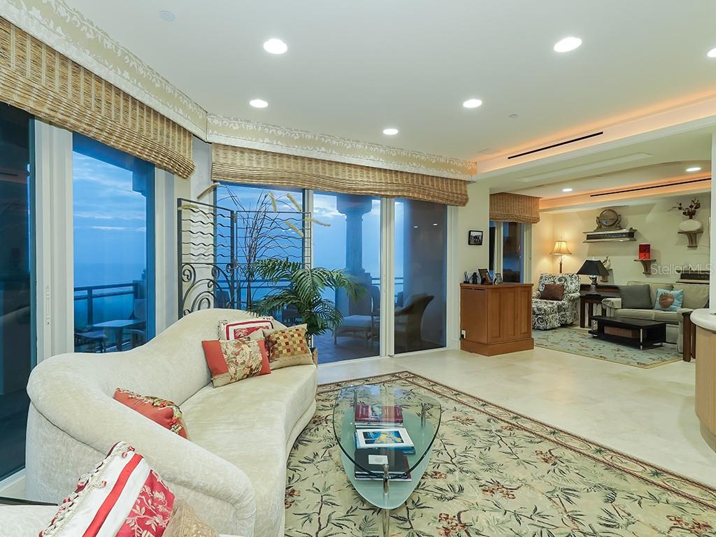 Living Room - Family Room W/Walls of Glass - Condo for sale at 2399 Gulf Of Mexico Dr #3c3, Longboat Key, FL 34228 - MLS Number is A4421722