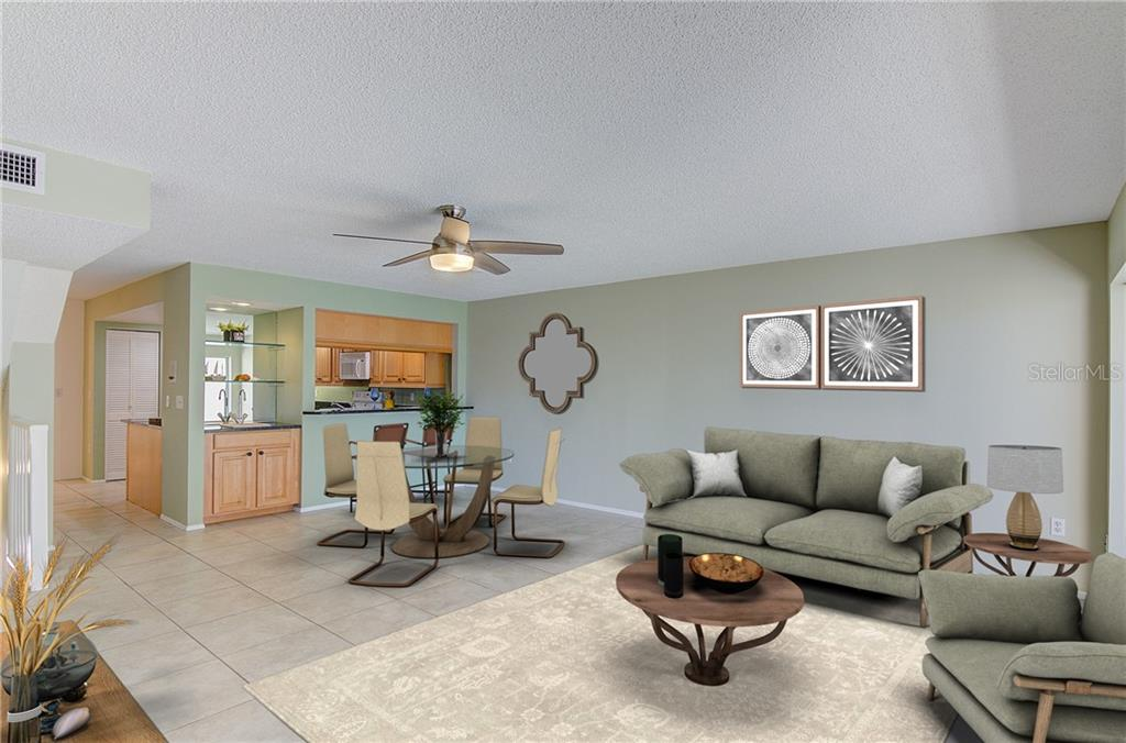 Digitally staged...Living and Dining great room - Condo for sale at 773 Benjamin Franklin Dr #7, Sarasota, FL 34236 - MLS Number is A4427752
