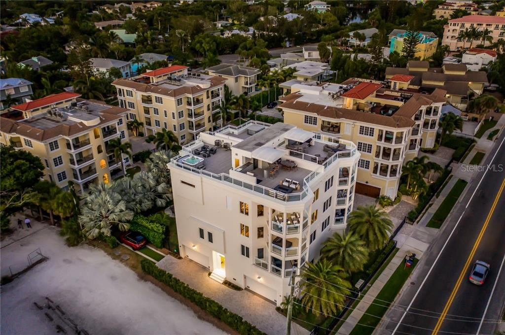 Aerial view. - Condo for sale at 301 Beach Rd #301-1, Sarasota, FL 34242 - MLS Number is A4438015