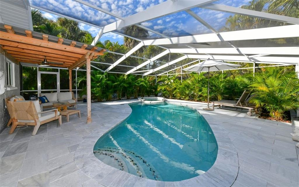 Private pool area, marble deck - Single Family Home for sale at 623 Avenida Del Norte, Sarasota, FL 34242 - MLS Number is A4454692