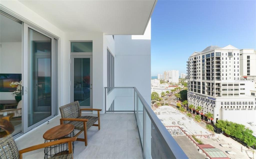 Balcony & view of Downtown Sarasota w/partial view of bay. - Condo for sale at 111 S Pineapple Ave #1117 L-1, Sarasota, FL 34236 - MLS Number is A4461778
