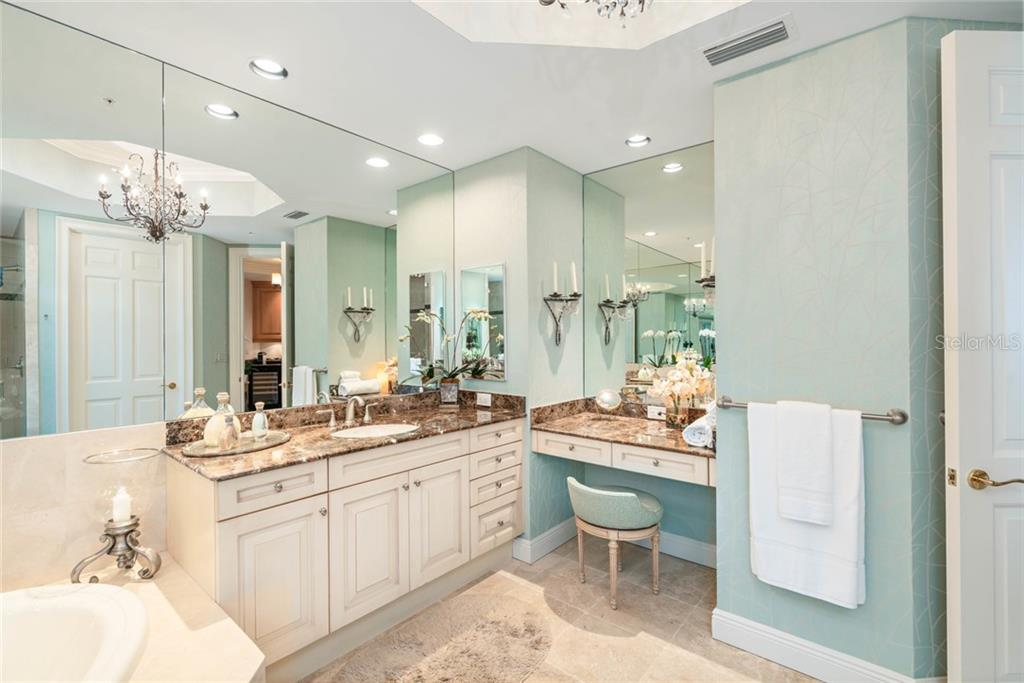 Luxuriate in Master bathroom with vanity - Condo for sale at 1300 Benjamin Franklin Dr #805, Sarasota, FL 34236 - MLS Number is A4462621