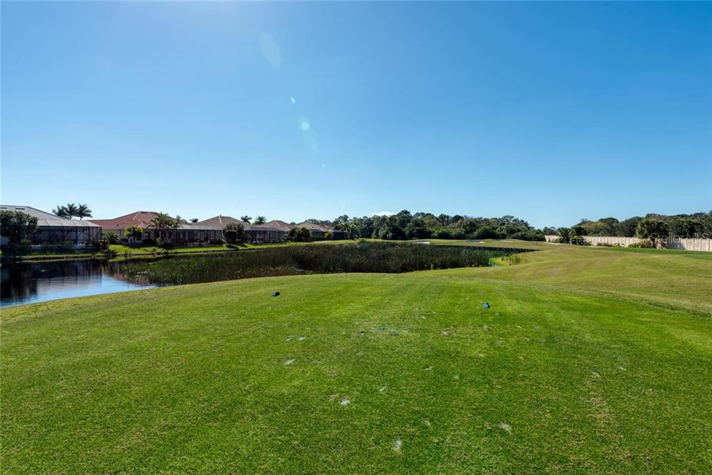 View of pond, peninsula green on 24th hole, from just outside the lanai - Single Family Home for sale at 821 Adonis Pl, Venice, FL 34292 - MLS Number is N6104303