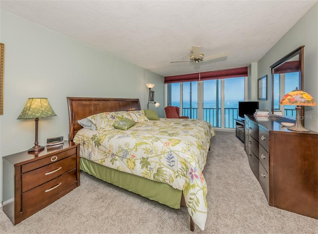 Master bedroom with Gulf view - Condo for sale at 555 The Esplanade N #1004, Venice, FL 34285 - MLS Number is N6109326