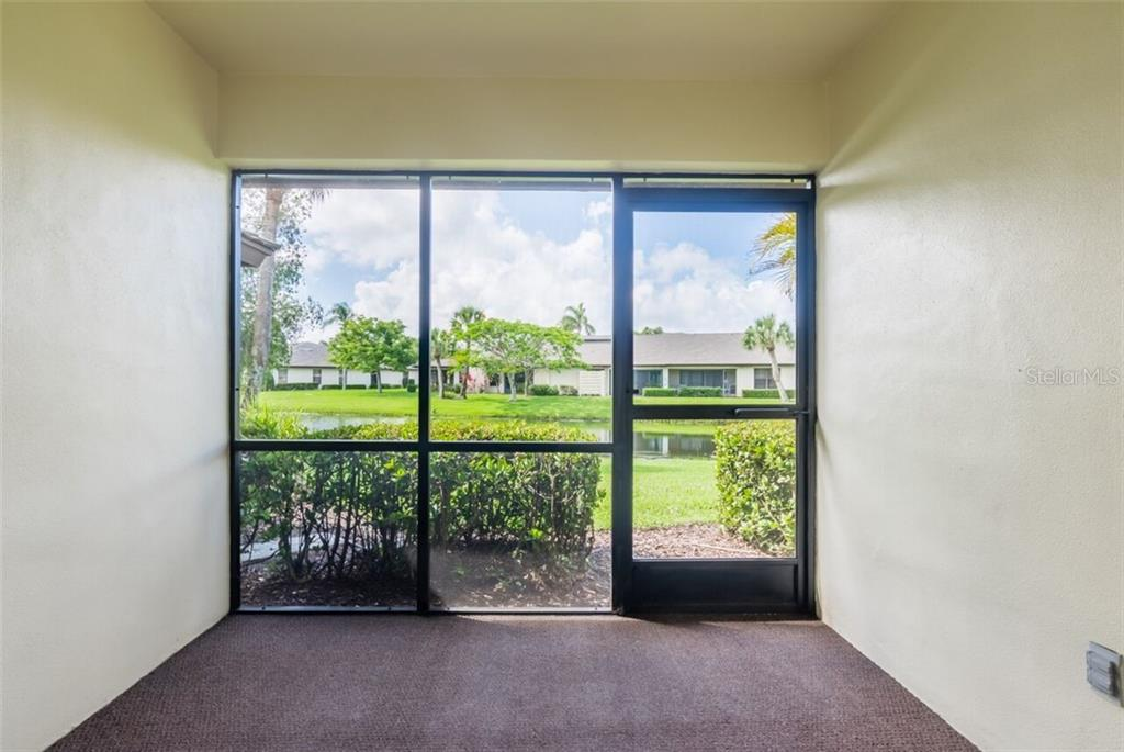 Private Screened Patio off the Master Bedroom - Villa for sale at 3606 Gleneagle Dr #9a, Sarasota, FL 34238 - MLS Number is A4403597